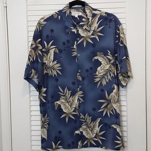 Hawaiian Men's Short Sleeve Shirt Blue Palm Trees